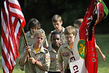 Scouts in a color guard