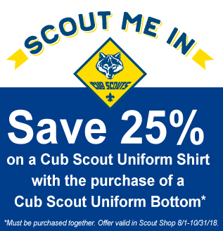 Save 25% on uniforms at the Scout Shop
