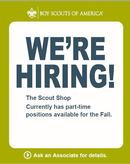The Scout Shop is hiring