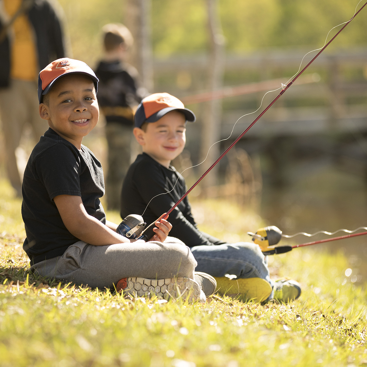 Two Cub Scouts fishing