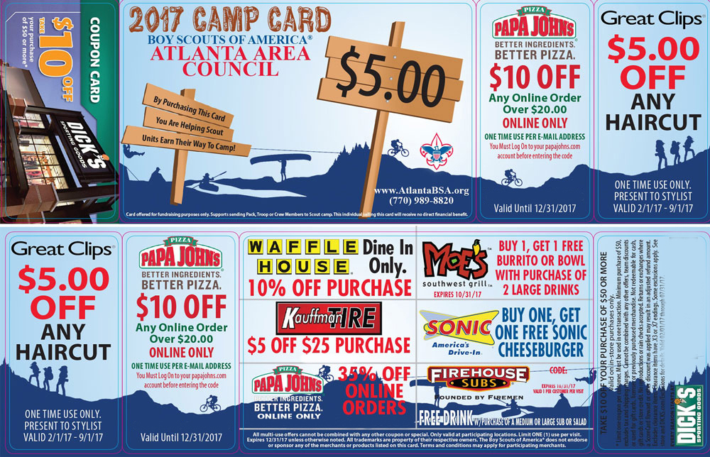 Atlanta Area Council Camp Card 2017