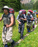 A group of Boy Scouts enjoy backpacking at Camp Tahosa