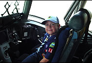 Cub Scout visiting an Air Force C-17
