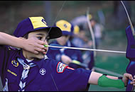 Cub Scouts practicing archery