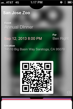 Mobile ticket in Apple Passbook