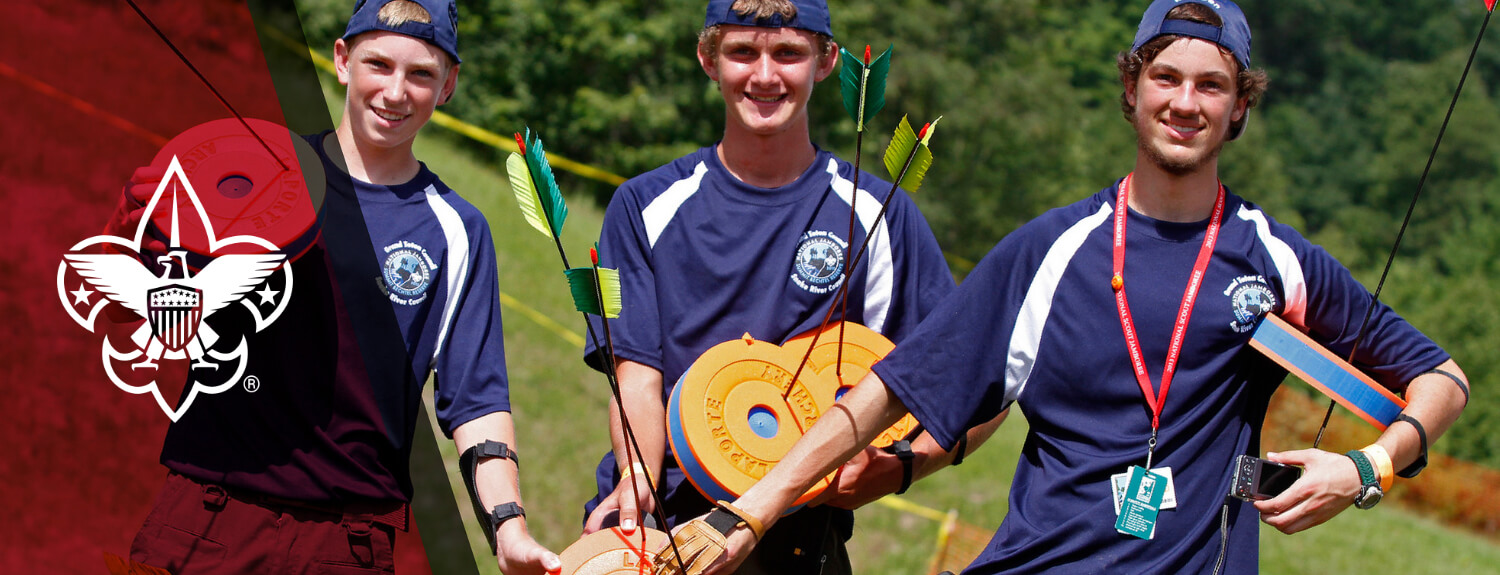 Scouts with arial archery targets