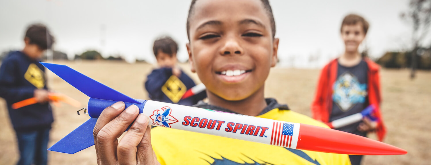 Scouts with a model rocket