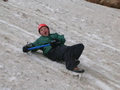 Snow sliding at Camp Tahosa