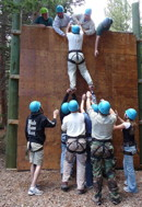 Climbing wall on the COPE course at Camp Tahosa