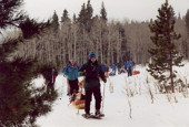 Snow shoeing during Okpik at Camp Tahosa