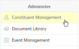 Constituent Management item in the Administer panel