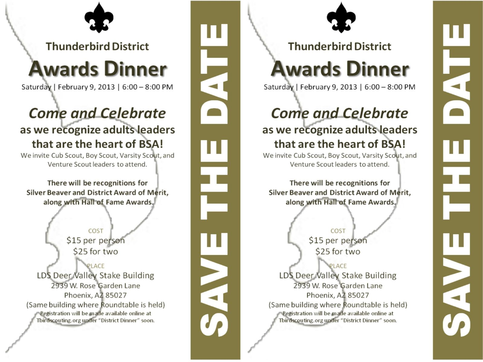 Two half-sheet flyers for the 2013 District Awards Dinner