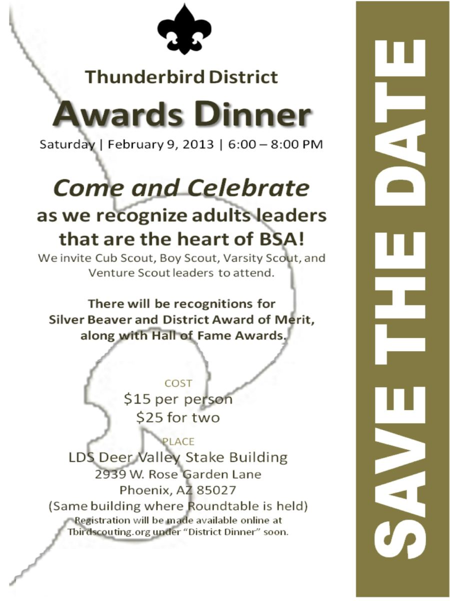 A flyer for the 2013 District Awards dinner