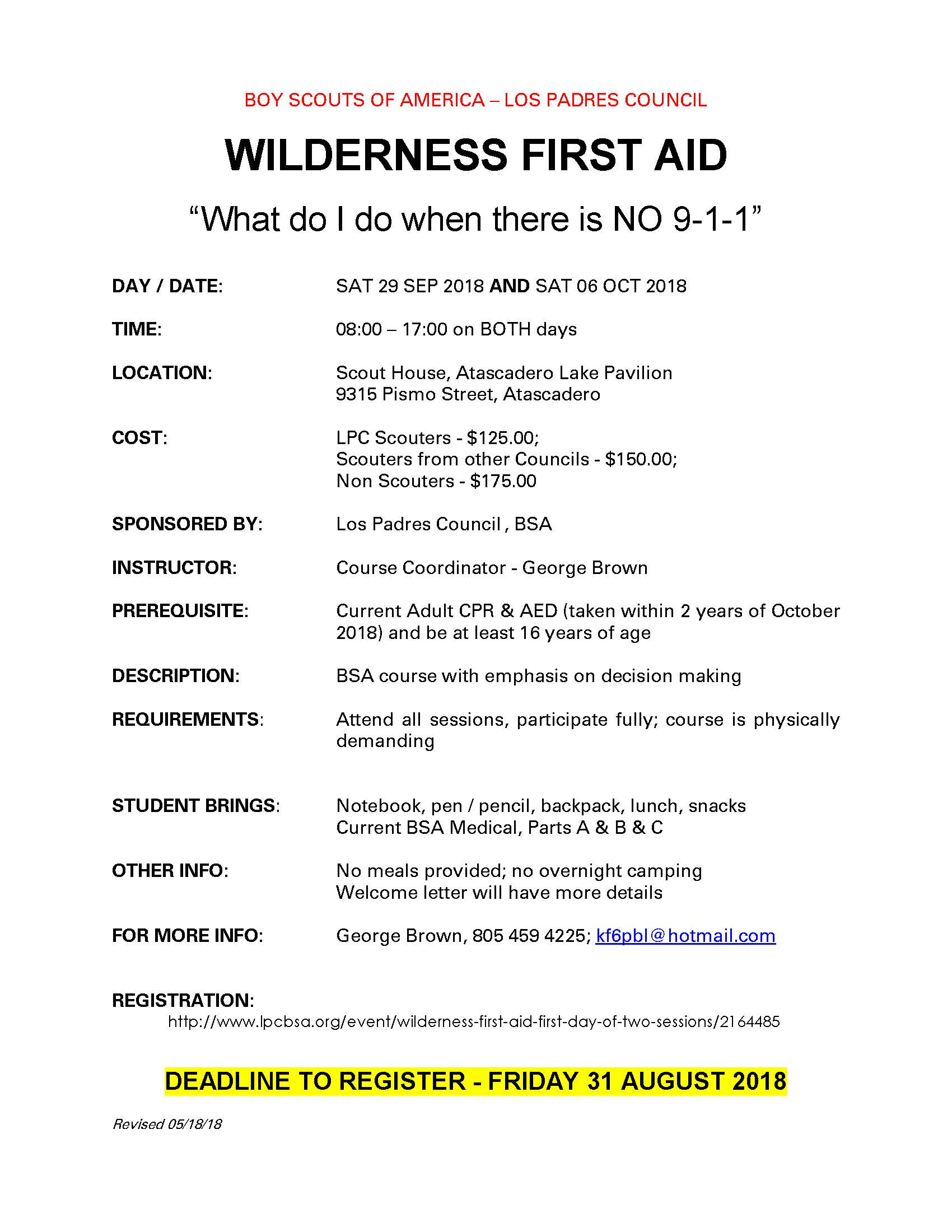 Wilderness First Aid - Fall 2018