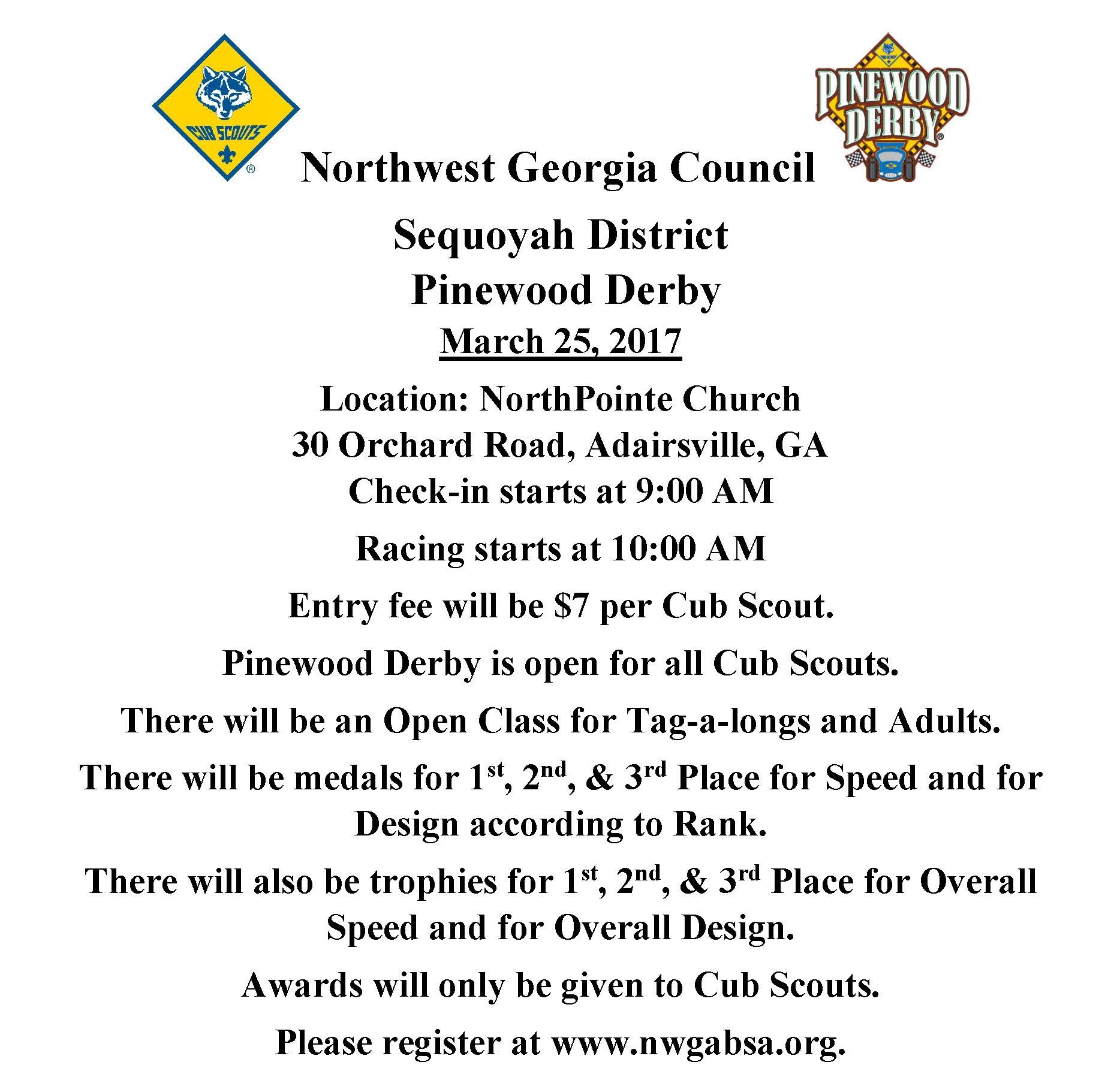 Pinewood Derby Rules ~ Sequoyah district pinewood derby