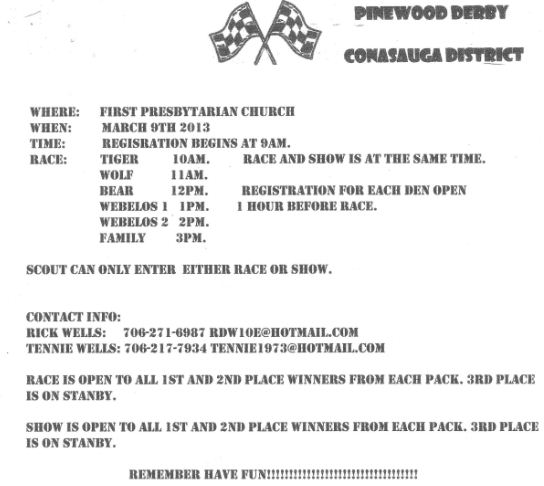 Pinewood Derby Rules ~ Conasauga pinewood derby