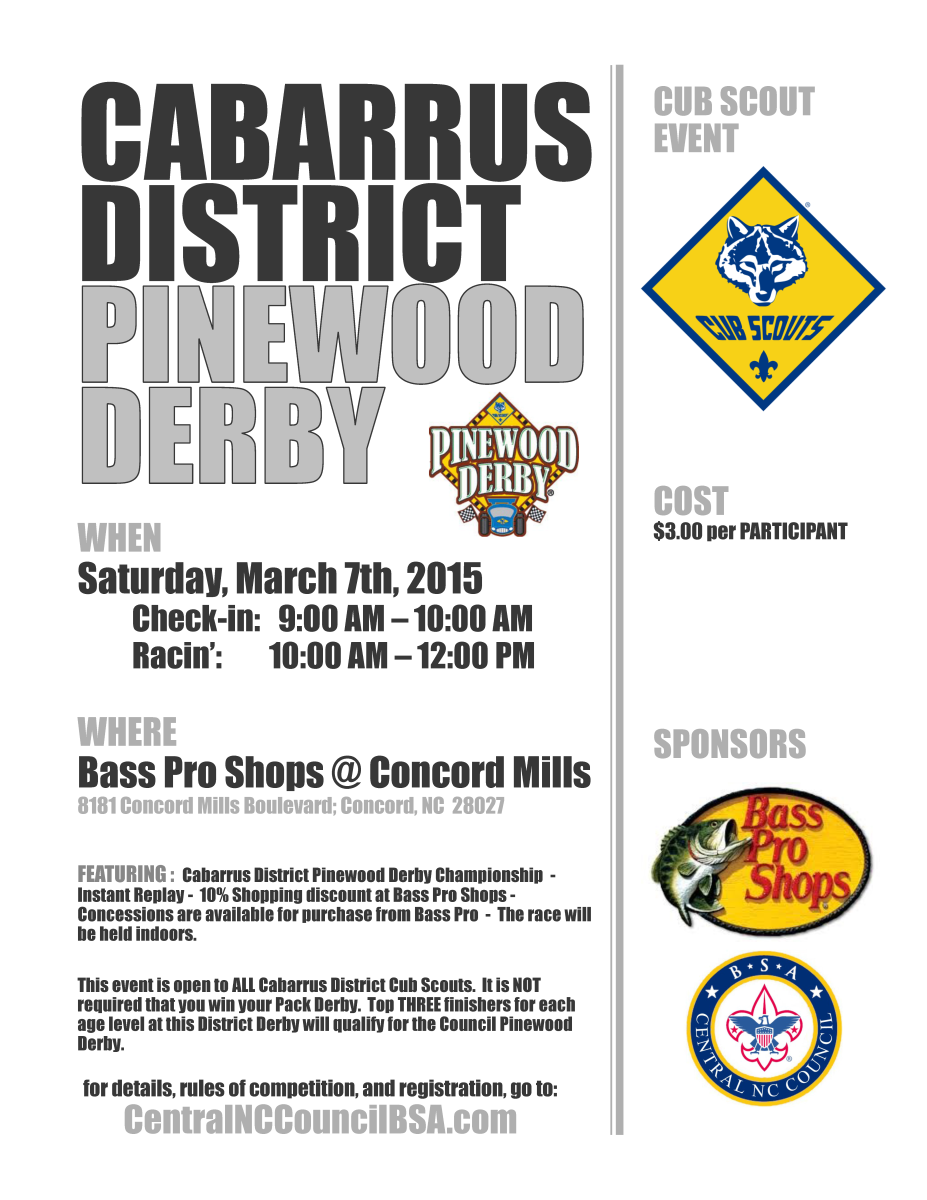 Pinewood Derby Rules ~ Cabarrus district pinewood derby bass pro shops