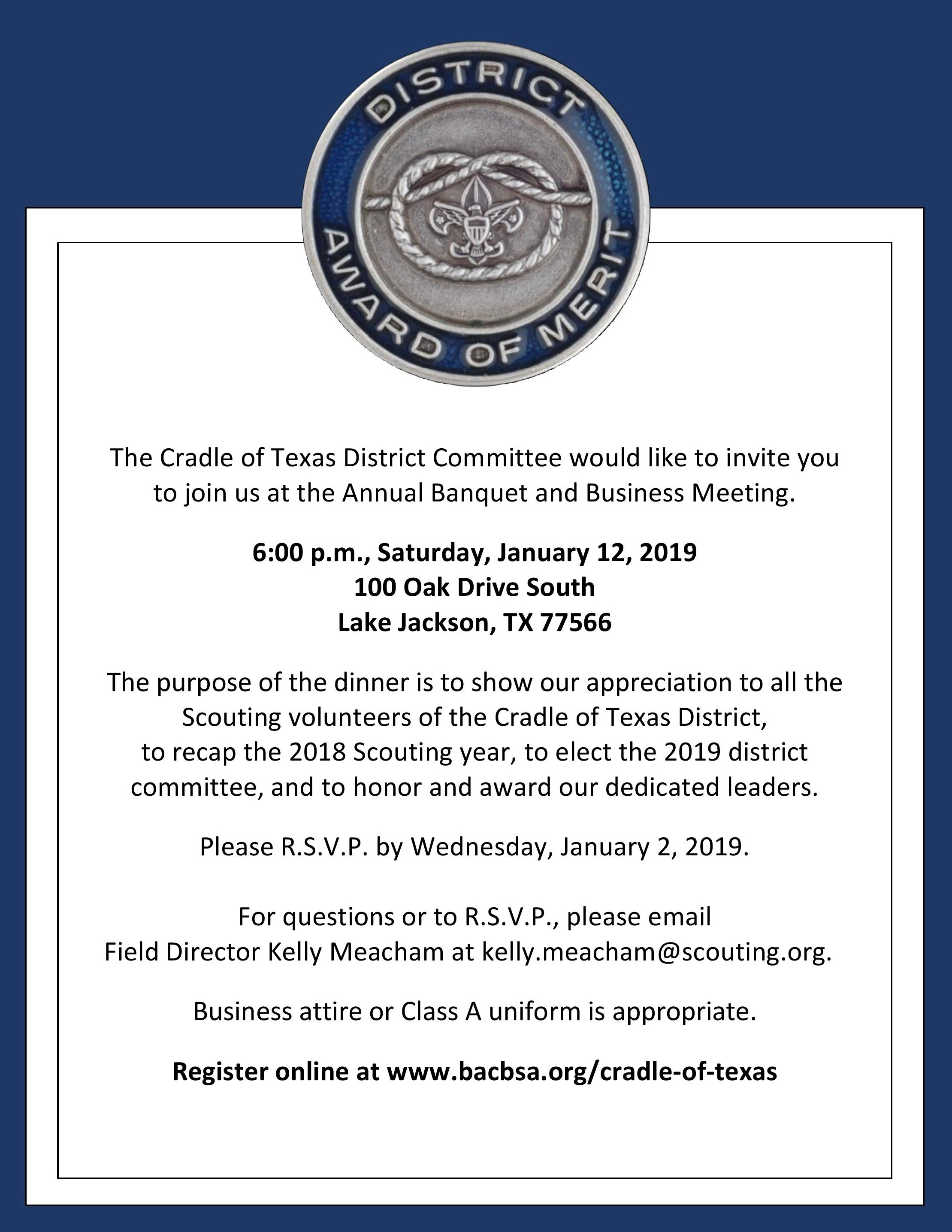 Cradle of Texas Annual Banquet & Business Meeting