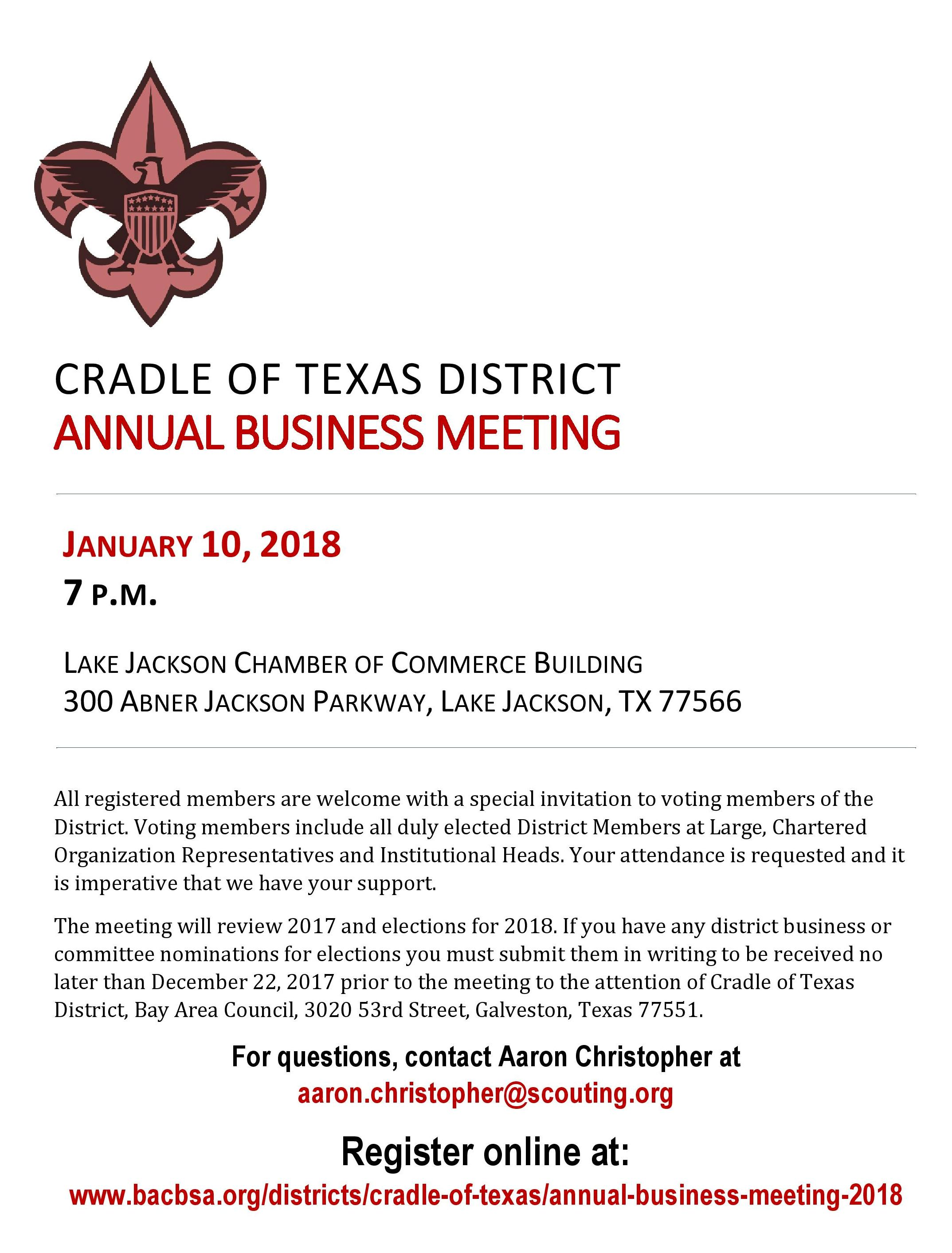 Cradle of Texas Annual Business Meeting