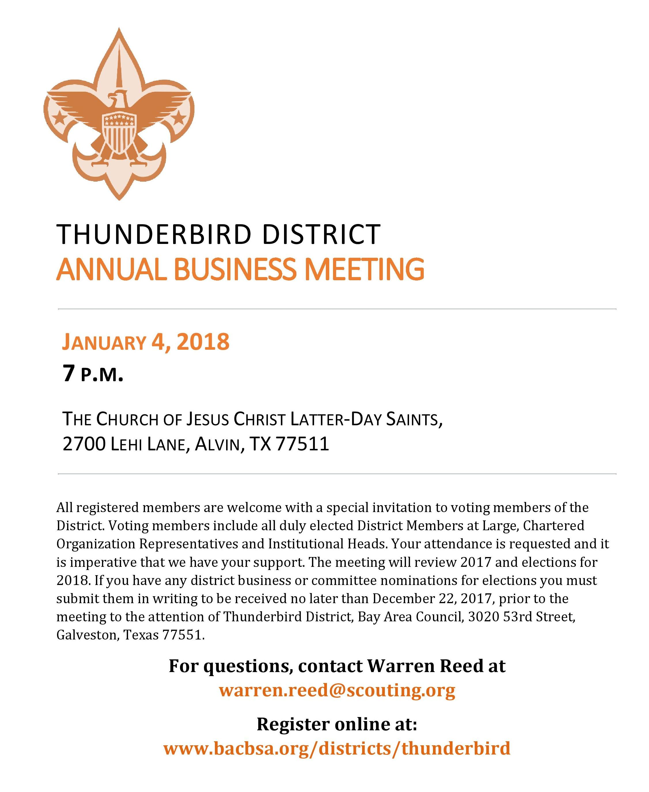 Thunderbird Annual Business Meeting