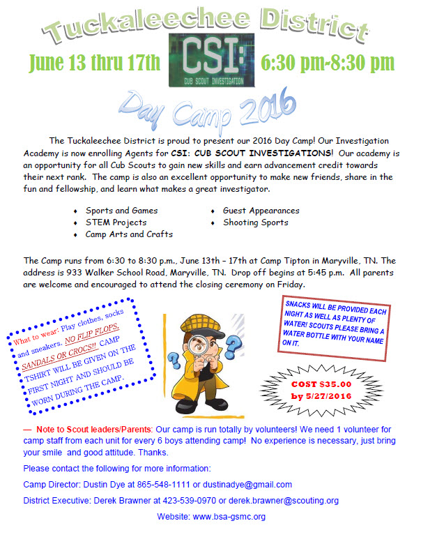 Tuckaleechee District Cub Scout Twilight Camp