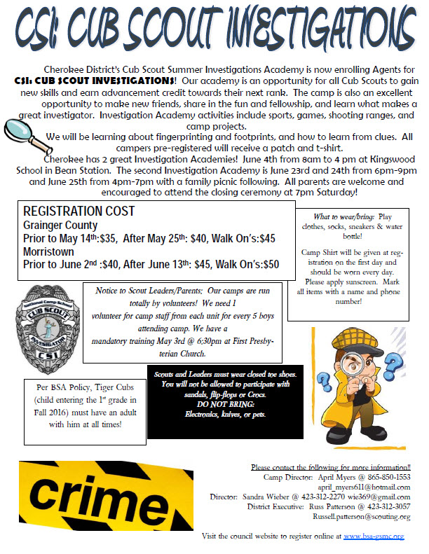 Cherokee District Cub Day Camp Grainger County