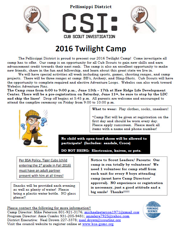 Pellissippi District Cub Scout Twilight Camp