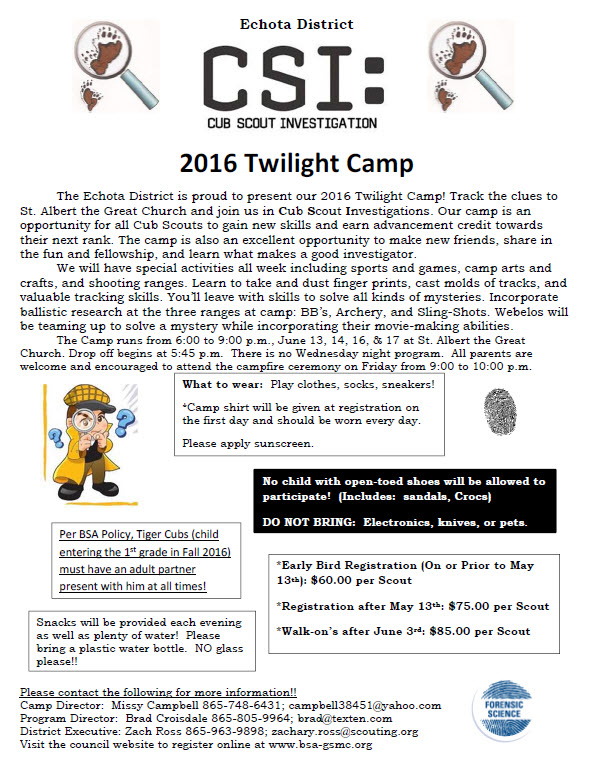 Echota District Cub Scout Twilight Camp~No Camp On 6/15~